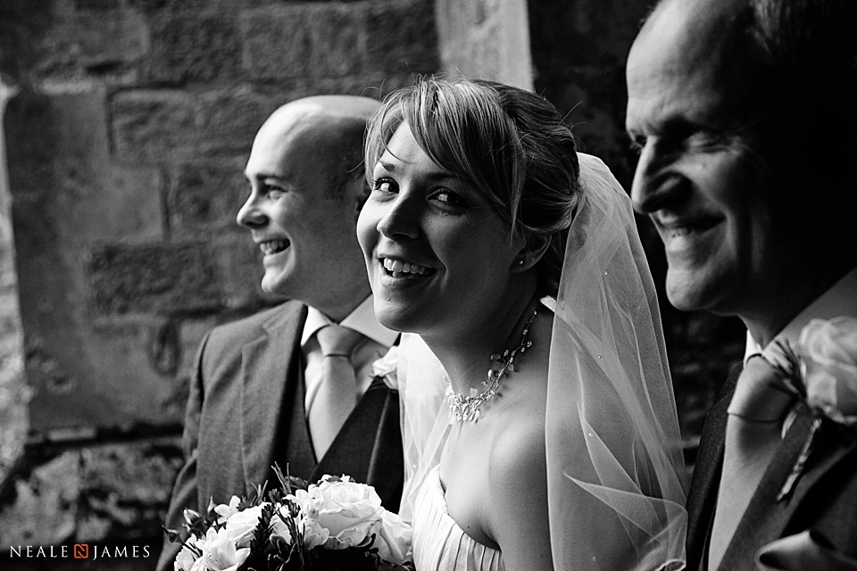 Black and white wedding photograph of parent and daughter