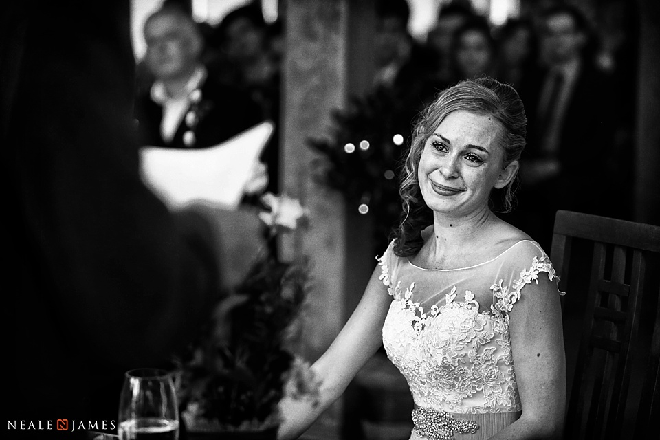 Monochrome picture of emotional bride
