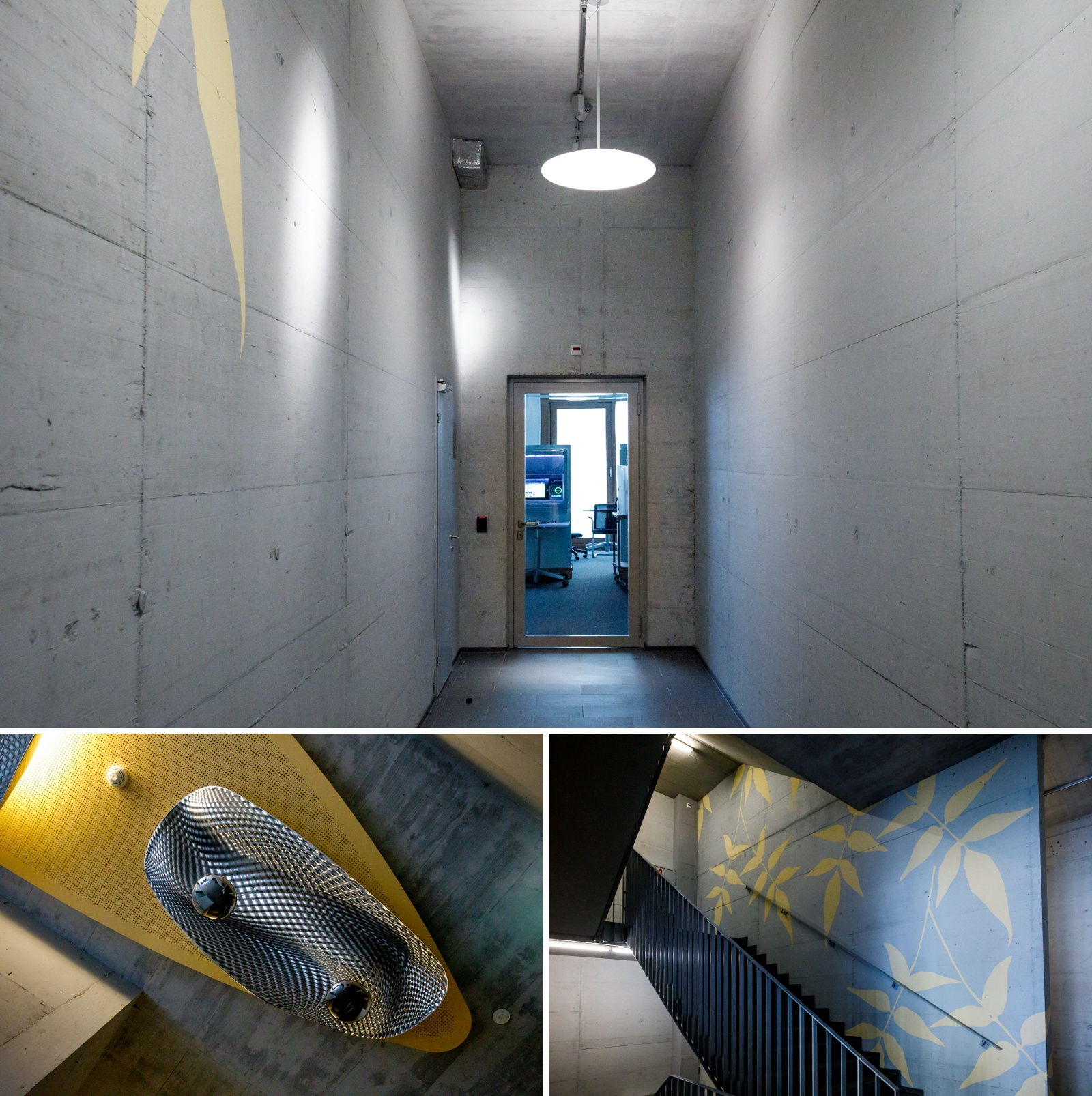 Colour photograph of the lift and stairwell at the new NCR offices in Zurich