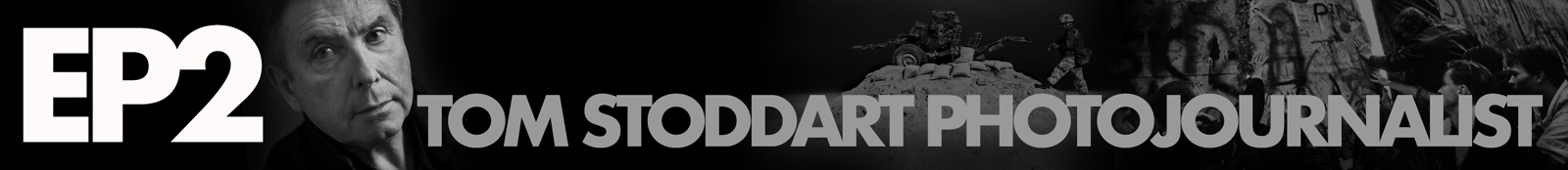 Black and white banner that appears on the Breathe Pictures Tom Stoddart podcast page