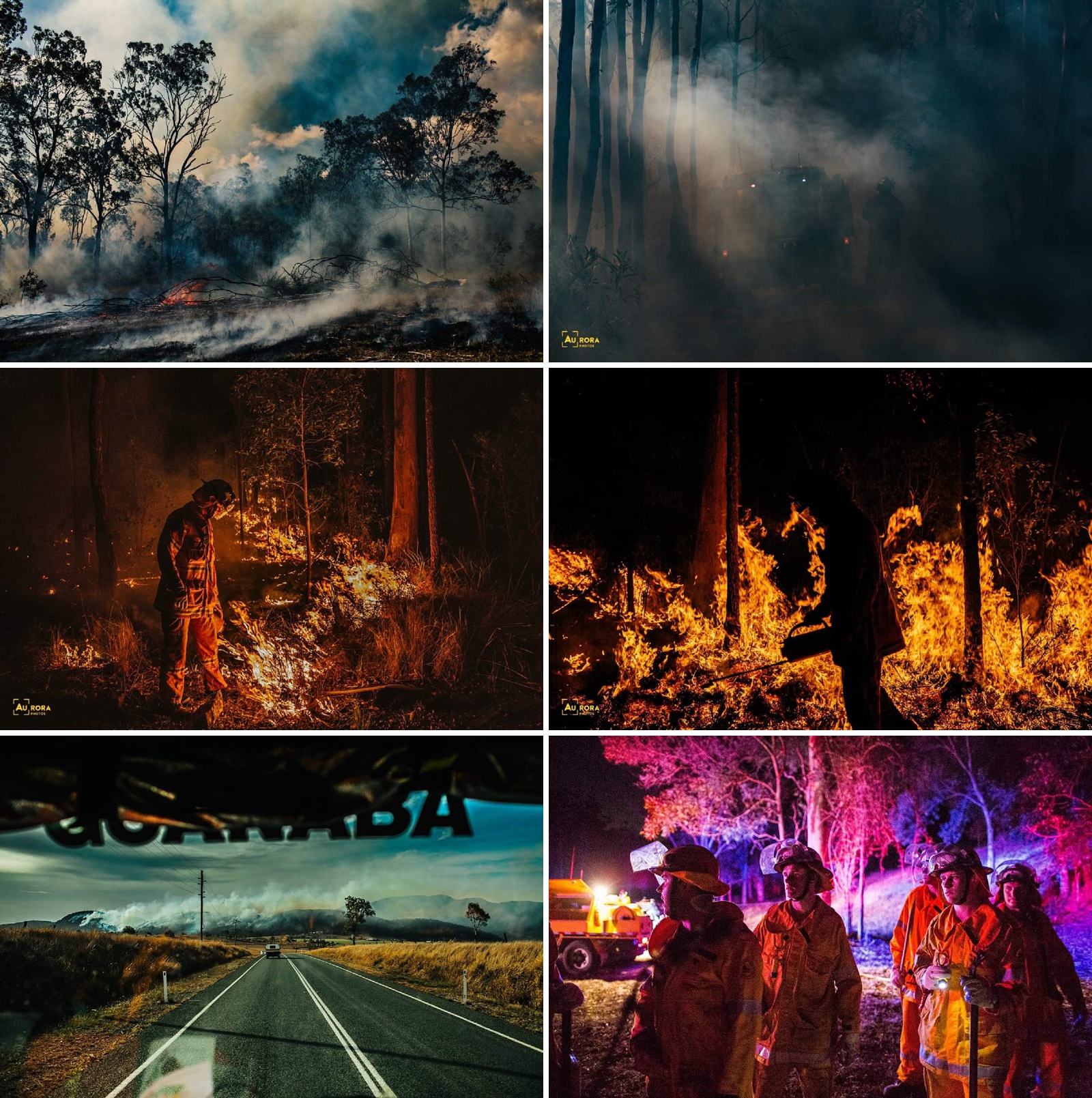 Colour pictures of Cam Neville's firefighting pictures used in the Breathe Pictures podcast about photography